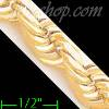 "14K Gold Solid Rope DC Chain 8.5"" 10mm"