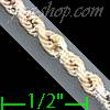 "14K Gold Solid Rope DC 3Color Chain 16"" 3mm"