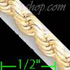 "14K Gold Solid Rope DC Chain 8.5"" 5mm"