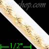 "14K Gold Hollow Rope DC Chain 18"" 4mm"