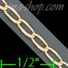 "14K Gold Open Link 1/1 Chain 16"" 2.5mm"