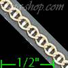 "14K Gold Mariner Concave 2 Tone Chain 18"" 2.9mm"