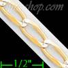 "14K Gold Open Link 1/1 White Pave Chain 8"" 4.7mm"
