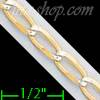 "14K Gold Open Link 1/1 White Pave Chain 20"" 4mm"