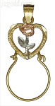 14K Gold Heart w/Rose Flower Charm Holder 3Color Dia-Cut Pendant