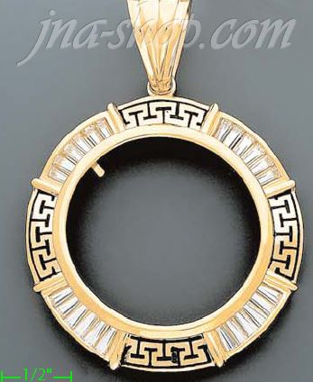 14K Gold Bezel Coin Charm Pendant - Click Image to Close