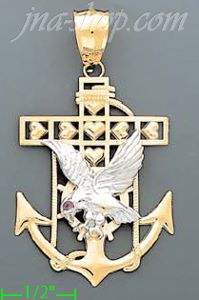 14K Gold Striking Eagle High Polish Anchor Charm Pendant