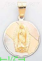 14K Gold Virgin of Guadalupe 3Color Engraved Charm Pendant