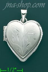 14K White Gold Etched Flower Design Heart Shaped Italian Locket