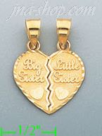 14K Yellow Gold Big Sis in Heart Charm Pendant