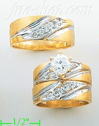 14K Gold Two-Tone CZ Wedding Set Rings