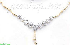 14K Gold Fancy CZ Sets Necklace 17""