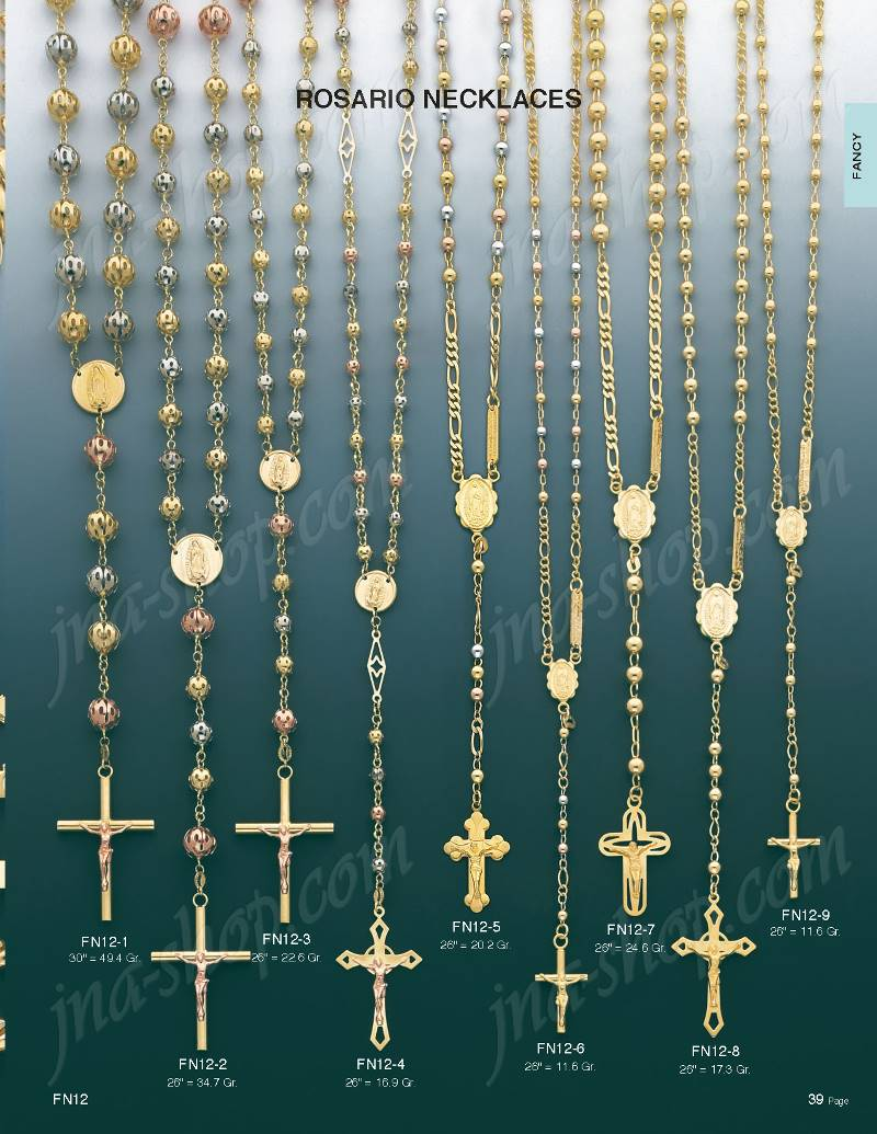 14K Gold Rosary Necklace 26 FN123 169500 Gold Jewelry by