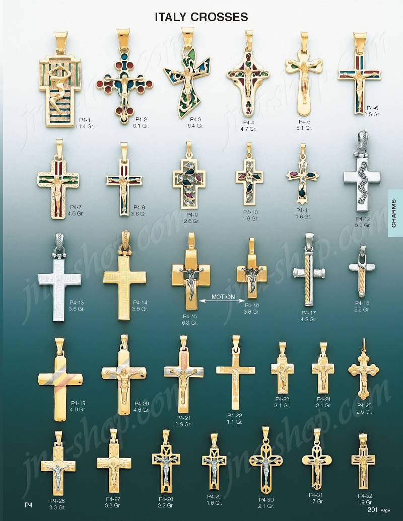 14K Gold Crucifix Italian Cross Charm Pendant [P4-26] - $248 00
