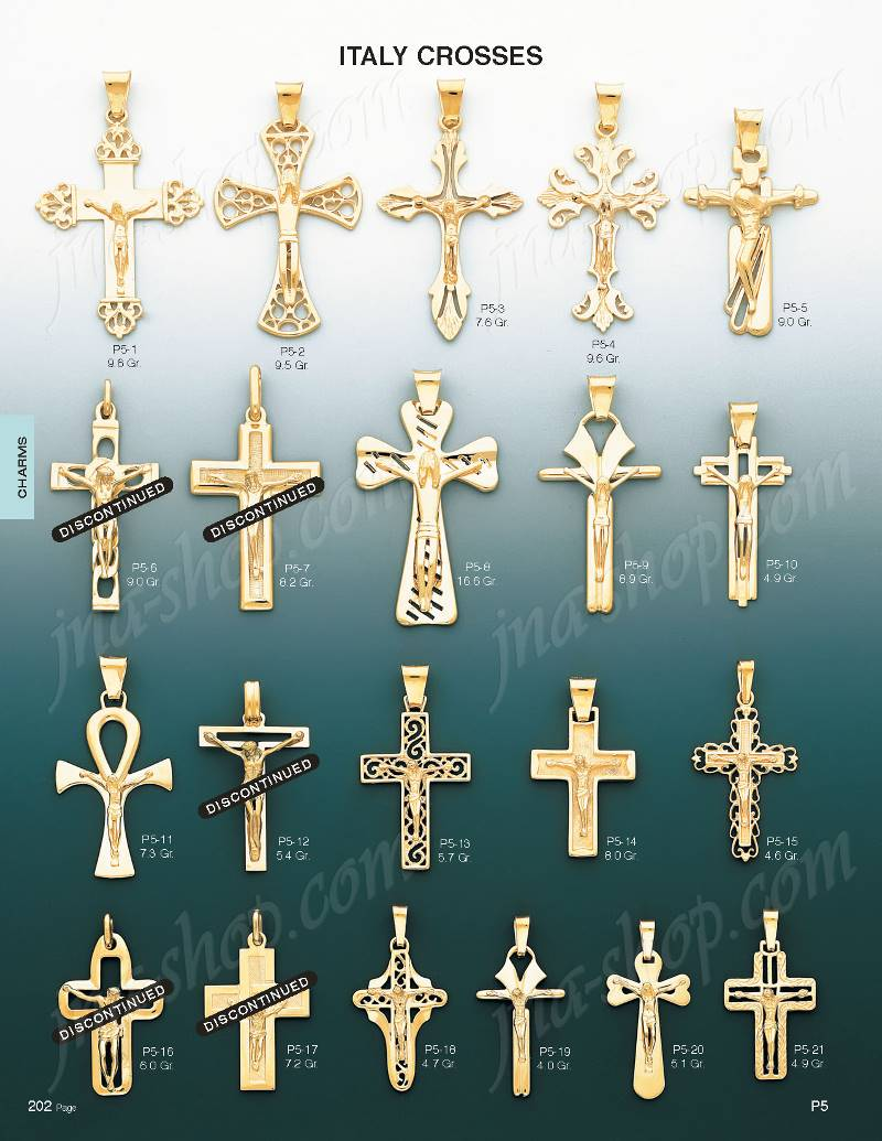 14k gold crucifix italian cross charm pendant p5 10 36800 click here to open image of page containing this item aloadofball Image collections