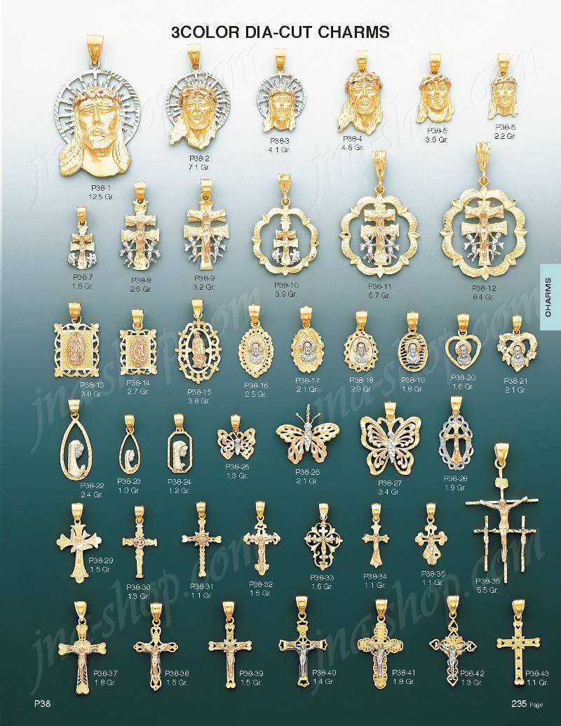 14k gold jesus religious 3color dia cut charm pendan