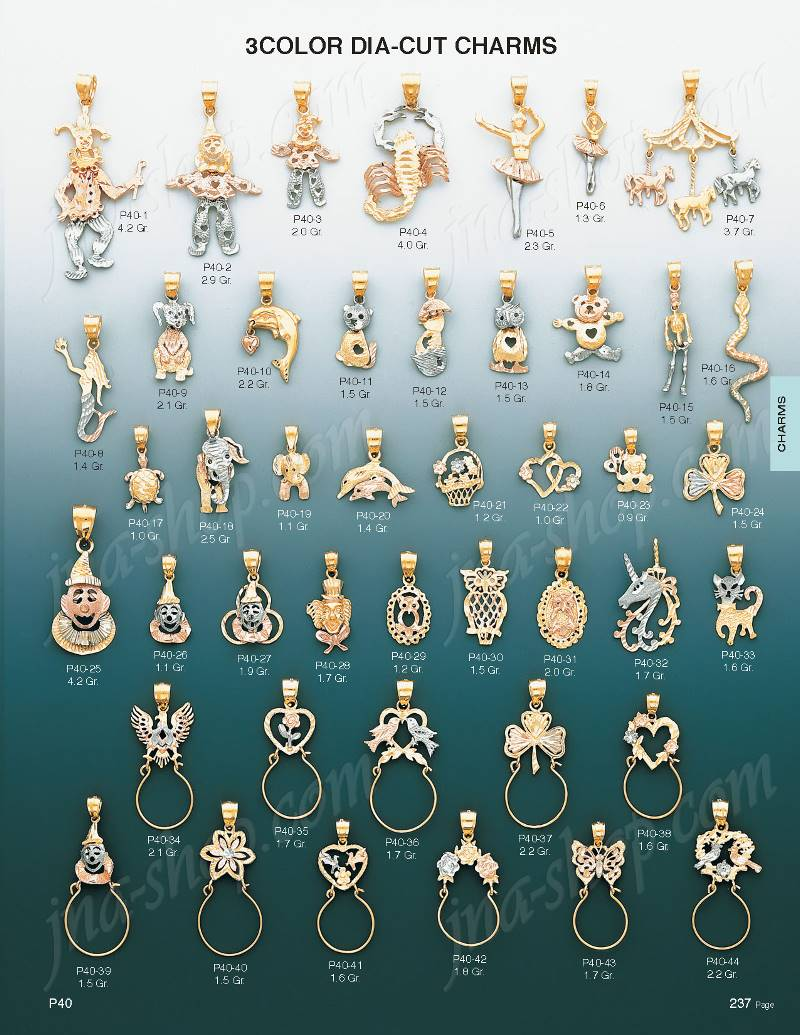 14k gold movable mermaid 3color dia cut charm pendant p40 8 click here to open image of page containing this item mozeypictures Gallery