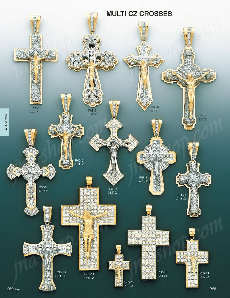 14k gold crucifix multi cz cross charm pendant p63 4 287600 click here to open image of page containing this item mozeypictures Images